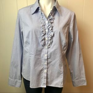AB STUDIO COLLARED BUTTON UP STRIPED SHIRT